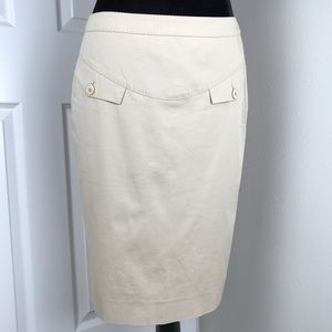 Moschino khaki pencil skirt with faux pockets